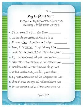Regular Plural Nouns Worksheet