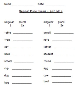 Regular Plurals worksheet and assessment by Debbie Nicotera | TpT