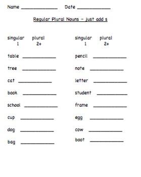 Regular Plurals worksheet and assessment