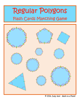 Regular Polygons - Angles and Perimeter Flash Cards Matching Game