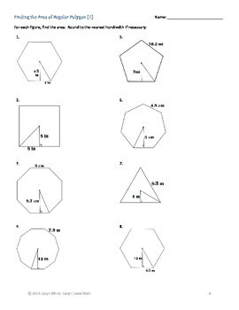 Regular Polygons ~ Finding Apothem~Central Angle~AREA~ 6 Worksheets~HS  Geometry