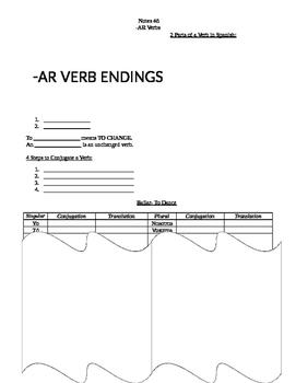 Regular Present Tense AR ER IR Guided Notes