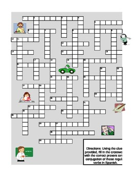 Regular Present Tense Verb Conjugations Crossword
