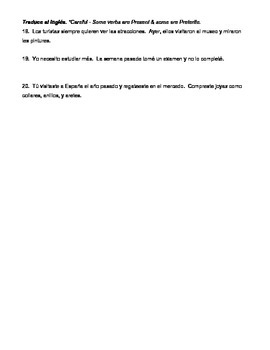 Regular Preterite Worksheet Bundle