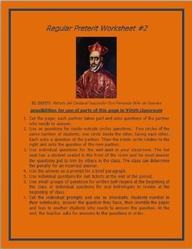 Regular Preterits Worksheet #2 SPANISH