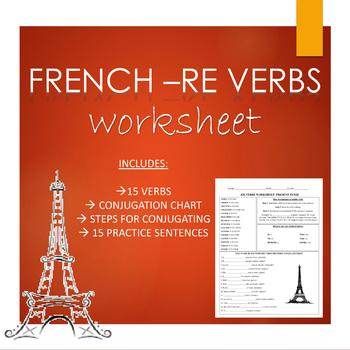 French -RE Verbs Worksheet for Beginners