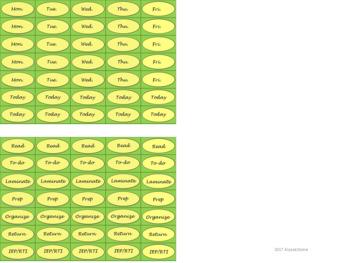 Regular Size Binder Clip Labels - Lemon & Sage - lowercase