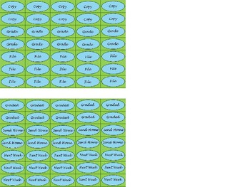 Regular Size Binder Clip Labels - Lime & Teal - lowercase