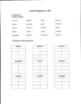 Regular Spanish AR Verb Packet