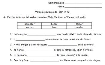 Regular Spanish ER and IR Verbs Unit Plan (Present Indicative)