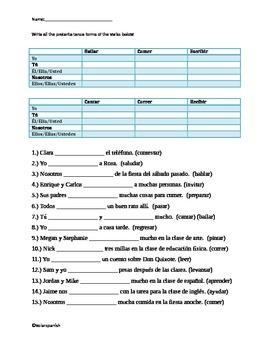 Regular Spanish Preterite Tense practice