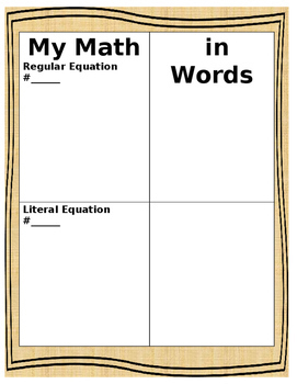 Regular VS Literal Equations:  A Comparison Activity