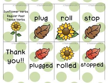 Regular Verb Cards - Sunflowers