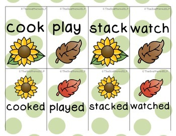Regular Verb Cards - Sunflowers