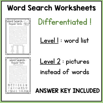 Regular Verbs Memory Game + Word Search Activity