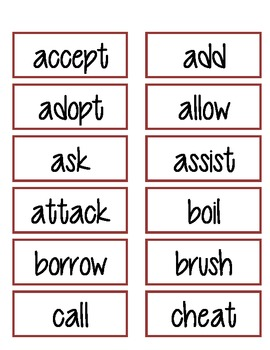 Regular Verbs - Past Tense Sorts 1