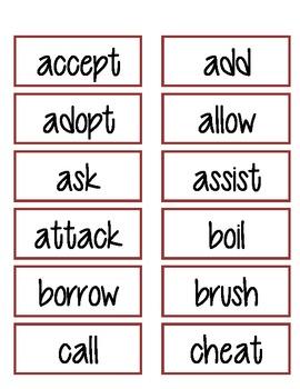 Regular Verbs - Past Tense Sorts 1
