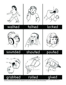 Regular Past Tense Verbs Song and Picture Cards - 3 sounds of 'ed'