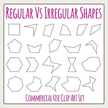 Regular Vs Irregular Shapes - Geometry Perimeters Area Etc Clip Art