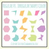 Regular Vs Irregular Shapes in Color Clip Art Set for Commercial Use