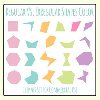 Regular Vs Irregular Shapes in Color Clip Art Set for Commercial Use