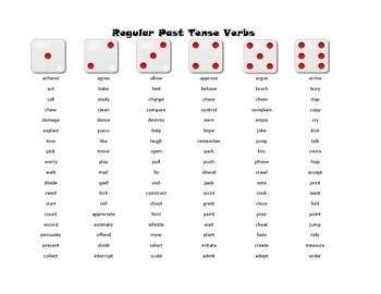 Regular and Irregular Past Tense Verbs - Roll-a-Dice Language Game