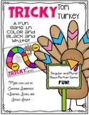 Regular and Irregular Plural Noun Game - Tricky Tom Turkey (in color and BW!)