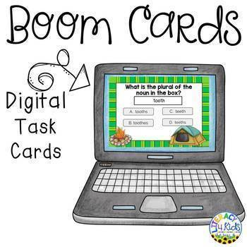 Regular and Irregular Plural Nouns Boom Cards (Digital Task Cards)