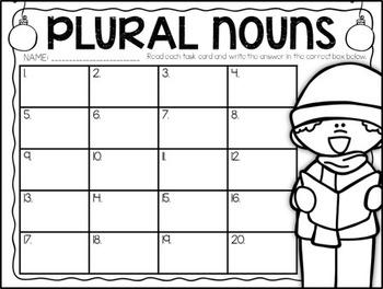 Regular and Irregular Plural Nouns - Holiday Task Cards