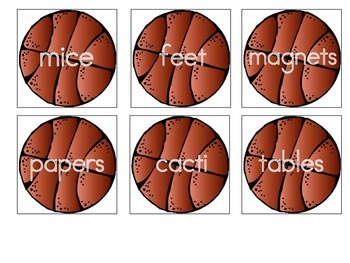 Regular and Irregular Plural Nouns Matching Game - Common Core Aligned