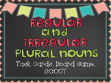 Regular and Irregular Plural Nouns Task Cards, SCOOT, and Board Game