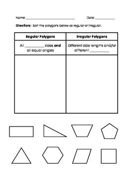 Regular and Irregular Polygons Sort