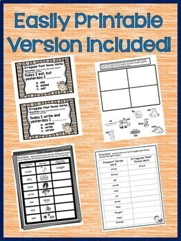 Regular and Irregular Verbs Interactive Notebook Google Drive Activities