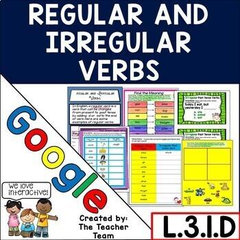Regular and Irregular Verbs Grammar Practice for Google Drive  L.3.1.D