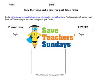 Regular and irregular past tense verbs Explanation and Worksheets
