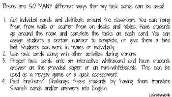 36 Regular -ar Verb Task Cards