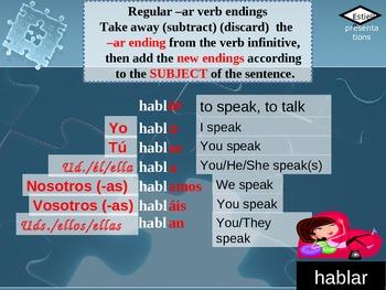 Regular -ar verbs:  Putting the pieces together