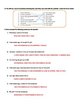Regular preterite -AR, -ER and -IR and -CAR, -GAR, -ZAR practice guided notes