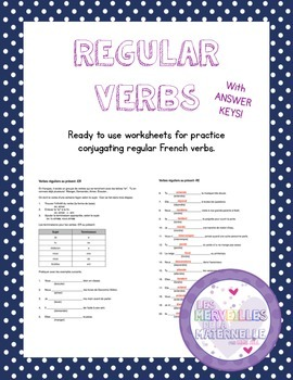 French Regular verb conjugation practice sheets