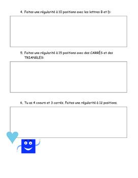 Régularités - Patterns Worksheet