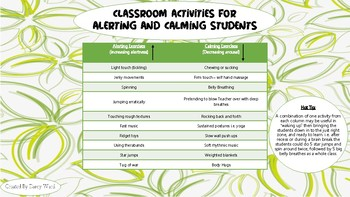 Sensory Regulation activities for classrooms, calming and alerting