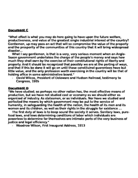 Regulation of the Economy during the Progressive Era Document Based Assessment