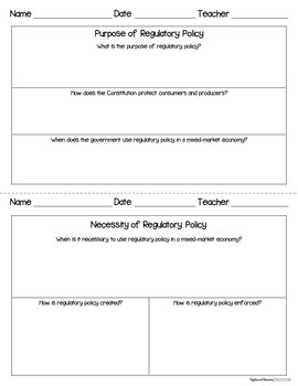 Regulatory Policy - Interactive Note-taking Activities