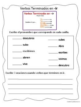 Regural Verbs Ending in IR Present Tense Conjugation