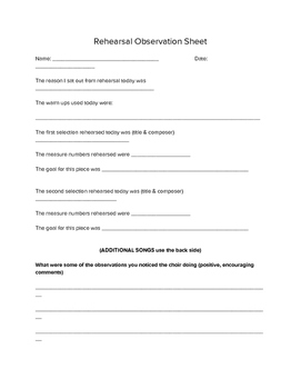 Rehearsal Observation Sheet