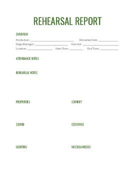 Rehearsal Report
