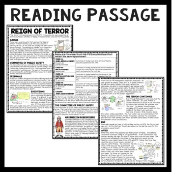 Reign of Terror Reading Comprehension; French Revolution; Robespierre