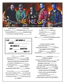 Reik, Ozuna, Wisin - 'Me Niego' Cloze Song Sheet! Spanish