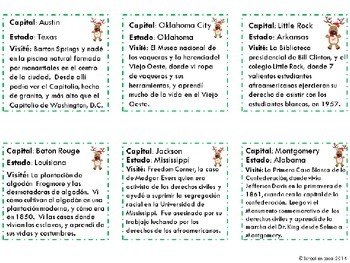 Reindeeer Roadtrip! Southern Edition: Math & Social Studies Center in Spanish
