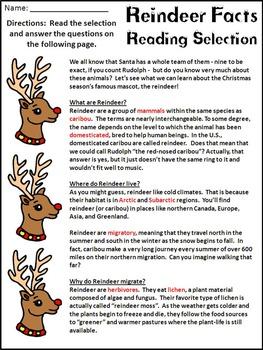 Reindeer Activities: Reindeer Facts Christmas Reading-Science Activity - Color